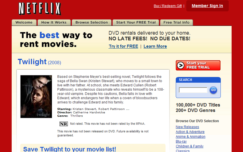 Twilight on Netflix.com