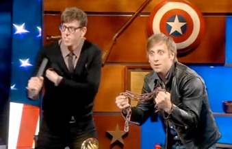 "The Black Keys Vs. Vampire Weekend in Colbert Report's ""Sell-Out-Off"""