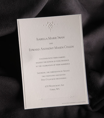 Listening Party In Their S This Saay November 5 Where They Will Also Be Giving Away Copies Of Bella And Edward Wedding Invitation